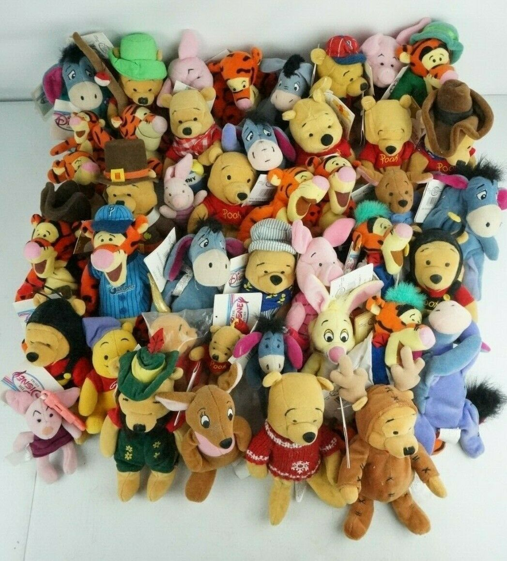 Primary image for Disney Store Plush Lot Of 43 Winnie the Pooh Eeyore Tigger Most w/Tags