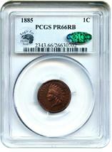 1885 1c PCGS/CAC PR 66 RB - Pretty Gem Proof - Indian Cent - Pretty Gem ... - $1,231.90