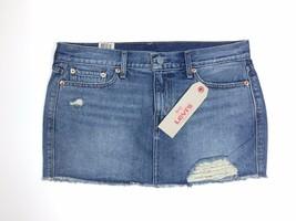 New Levi's Denim Miniskirt ALL SIZES 'Shattered Dusk' Distressed Blue Je... - $21.99