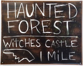 Haunted Forest Wizard of Oz Witches Castle Rustic Metal Sign - $19.95