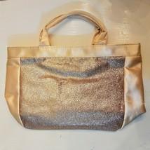 Avon All That Glitters Hand Bag Tote Metallic Gold Color Trim Shopper Pu... - $14.85