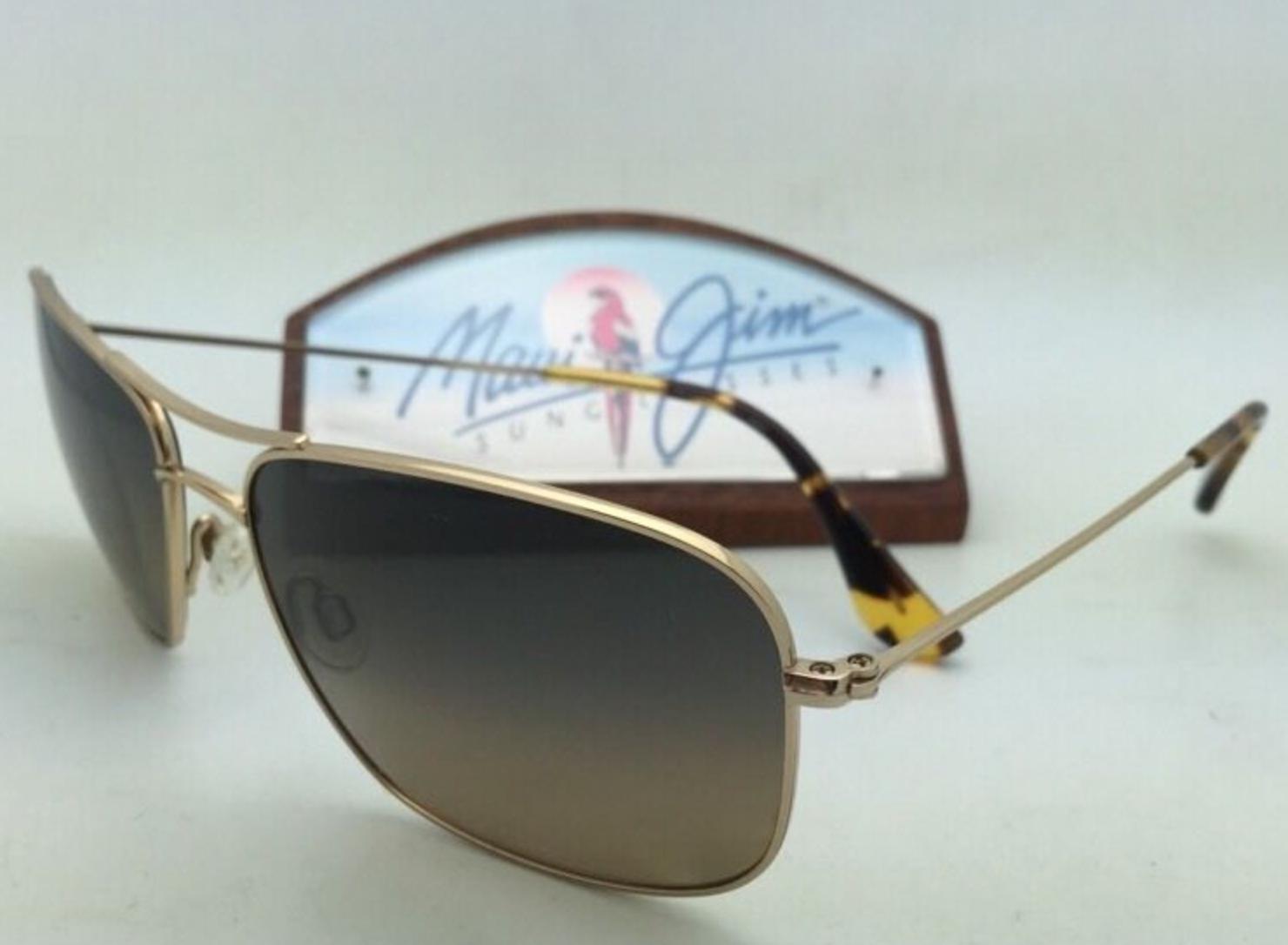 Polarized MAUI JIM Sunglasses Titanium WIKI WIKI MJ 246-16 Gold Frame Brown Lens