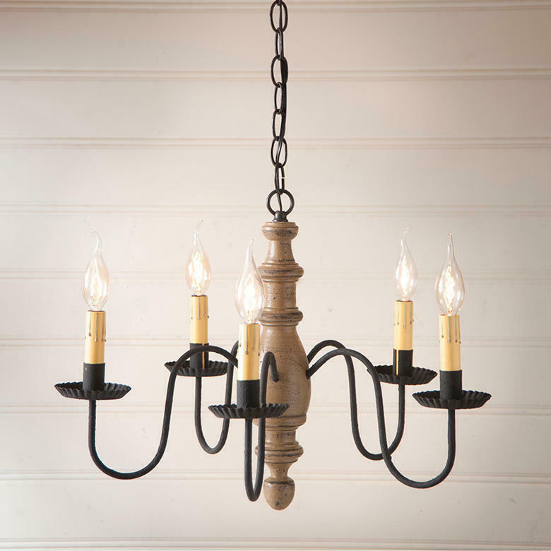 Primary image for Primitive Rustic Simple Country Inn Wood 5 Arm Chandelier In Americana Pearwood