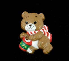 RUSS TEDDY BEAR Christmas Pin Vintage Brooch Playing Drum Plastic Signed - $12.99