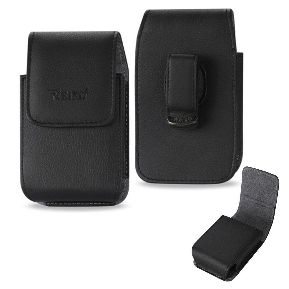 Black Leather Vertical Case & Car Charger fits LG Aristo 2 with a cover on it.