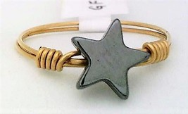 Hematite Star Gemstone Bead Gold Wire Wrap Ring sz.9 - $10.08