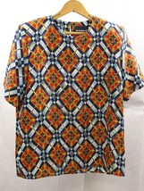 Notations Women Blouse Multi Color Red Blue Size 8 Short Sleeve - $9.90