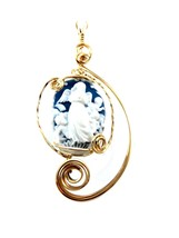CAMEO PENDANT BLUE & WHITE ANGEL & CHERUB WIRE WRAP 14 K GOLD FILL - $49.50