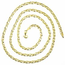 9K GOLD CHAIN TYGER EYE FLAT LINKS 3mm THICKNESS, 60cm, 24 INCHES, NECKLACE image 4