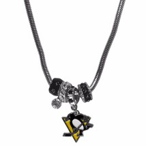 "pittsburgh penguins licensed nhl euro bead necklace with 18"" chain - $22.55"