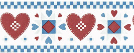 Country Quilt Patchwork Stich Red Hearts Farmhouse Vintage Wall paper Bo... - $18.61