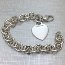"""8.5"""" Large Tiffany & Co Sterling Silver Blank Heart Tag Charm Bracelet - $215.00"""
