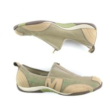 Merrell Barrado Sport Green Beige Canvas Flats Walking Trail Shoes Zip Womens 9 - $34.56