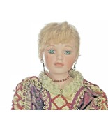 Vintage NJSF Holiday Blonde Hair Green Eyes Porcelain Doll Cloth Body  - $33.66