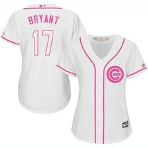 Women's Chicago Cubs #17 Kris Bryant Jersey White Pink Fashion MLB New - $45.99