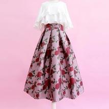 Pink Rose Flower Midi Skirt Plus Size Elegant A-line Pleated Midi Party Skirt image 1