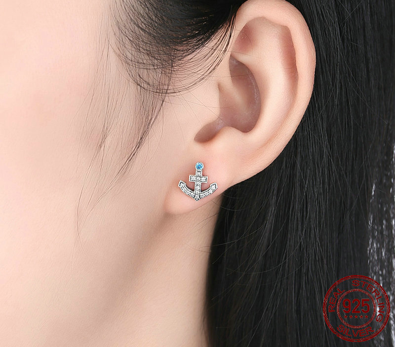 Popular 100% 925 Sterling Silver Anchor & Rudder Blue Crystals Stud
