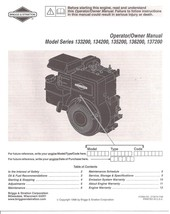 Briggs and Stratton Engine Owners Manual 133200 134200 135200 136200 137... - $10.49