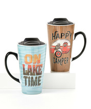 Set of 2 Camping Design Ceramic Travel Mugs Camper and Lake Theme 16 oz - $39.59