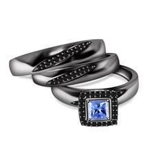 Blue Sapphire Mens & Womens Wedding Ring Trio Set 14k Black Gold Over 925 Silver - $142.75