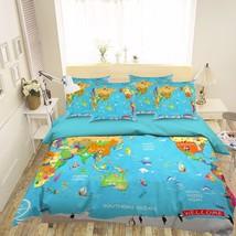 3D World Map 237 Bed Pillowcases Quilt Duvet Cover Set Single Queen King... - $64.32+