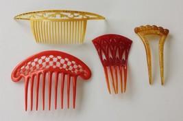 LOT antique 4pc ART DECO HAIR COMBS butterscotch red yellow - $48.50