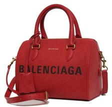 New $2100 Balenciaga Ville Bowling Small Red Grained Leather Messenger Bag - $2,362.74 CAD