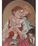Cross Stitch Antique Print Tender Embrace Knitting Cat Linda Bird PATTERN  - $10.99