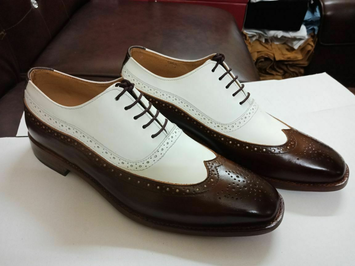 Handmade Men's Brown and White Wing Tip Brogues Dress/Formal Oxford Leather