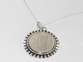 Gear Pendant 1967 Irish threepence 51st Birthday + 18 inch Sterling Silver Chain - $17.47