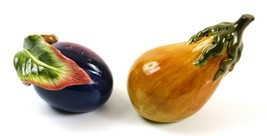 Fitz and Floyd Ceramic Plum & Pear Fruit Salt & Pepper Shakers - $16.82