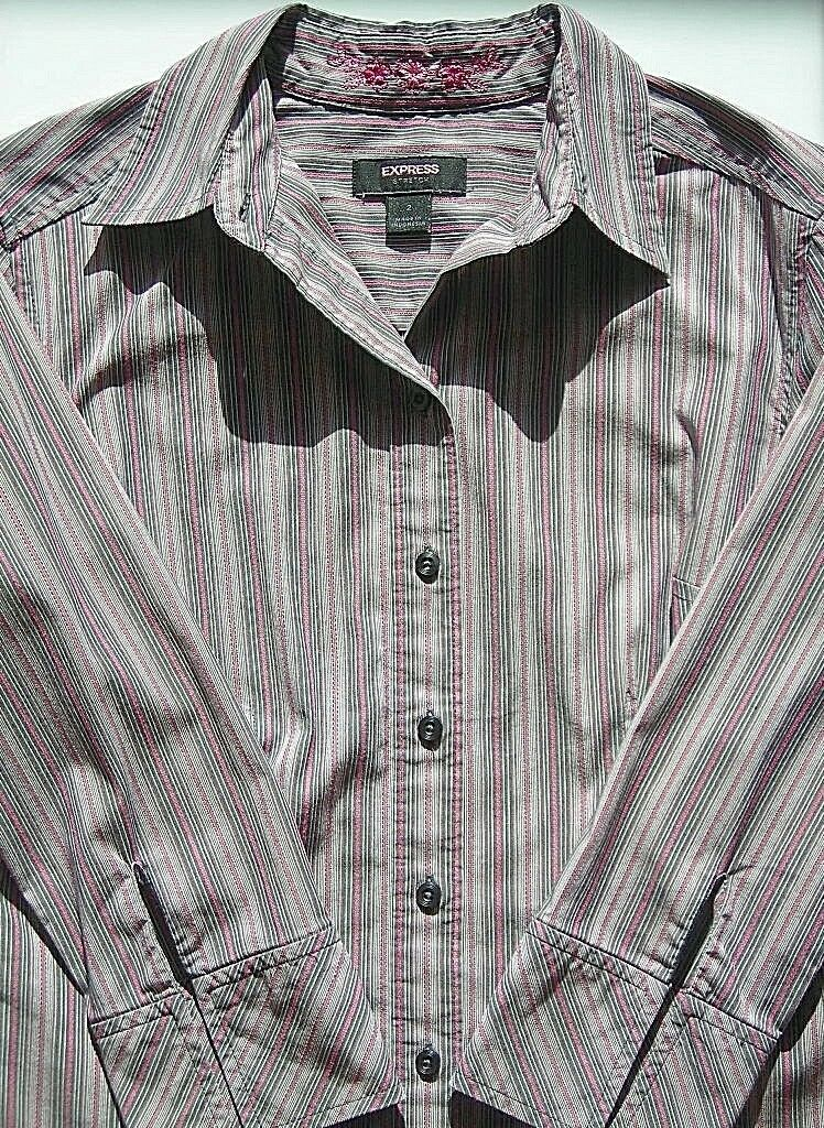 lot 2 dress shirts button 3/4 sleeve fitted stripe Old Navy size XS Express sz 2 image 7