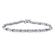 """1.25 Carat  """"X""""-Shaped Baguette-Cut Diamond Channel Set Bracelet.10K Whi... - $1,028.61"""