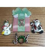 Lot of 4 Vintage Christmas Holiday Brooches/Pins Santa Bear Snowman Joy - $8.42