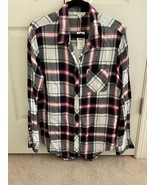 Beach Lunch Lounge Womens Plaid Sable Shirt Night Shadow Navy Red  White... - $24.75
