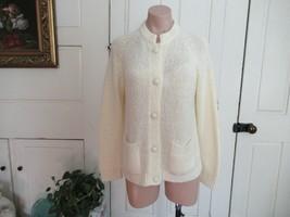 Vintage LeRoy Knitwear cardigan sweater Medium ivory cream raglan sleeves - $15.63