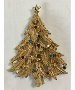 Vintage Christmas Tree Brooch Pin JJ 1980s Multi Color Crystal Goldtone ... - $24.95