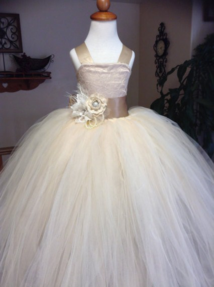 New Arrival Cheap Flower Girls Dress With Flowers Tulle Evening Party Gowns 2019 image 3