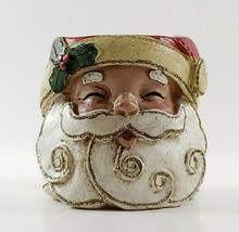 Santa Claus Tea Light candle Holder Carved resin Young - $8.00