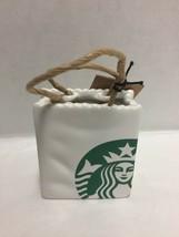 Starbucks Tote Bag Ornament Gift Card Holder Siren Logo Ceramic New - $23.36