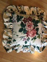 """1 Cotton Ruffled WAVERLY Floral Grapes Throw Pillow Pleasant Valley 17"""" - $18.53"""