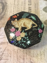Vintage Action Made In Japan Tabby Cat Floral Trinket Box Ring Box  - $9.50