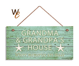 Grandma And Grandpa's House Sign, Where Memories Are Made, Weathered 5x10 Sign 2 - $12.87