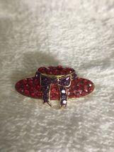 Vintage Red Hat Society Glass & Metal Lapel Brooch Pin image 4