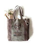 Mona B Spirit of Freedom Canvas + Leather Tote Bag,Snaps Closed,3 Inside... - $63.99