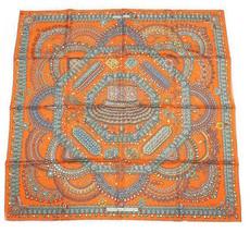 Hermes Scarf Stole PARURES DES MAHARAJAS Catherine Baschet Orange Jewelr... - $522.27