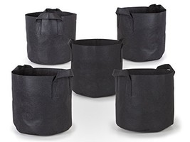 247Garden 5-Pack 7 Gallon Grow Bags/Aeration Fabric Pots w/Handles Black - $224,61 MXN