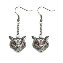 Wise Owl Head Pewter Earrings Jewelry- Mystica Collection - $7.83