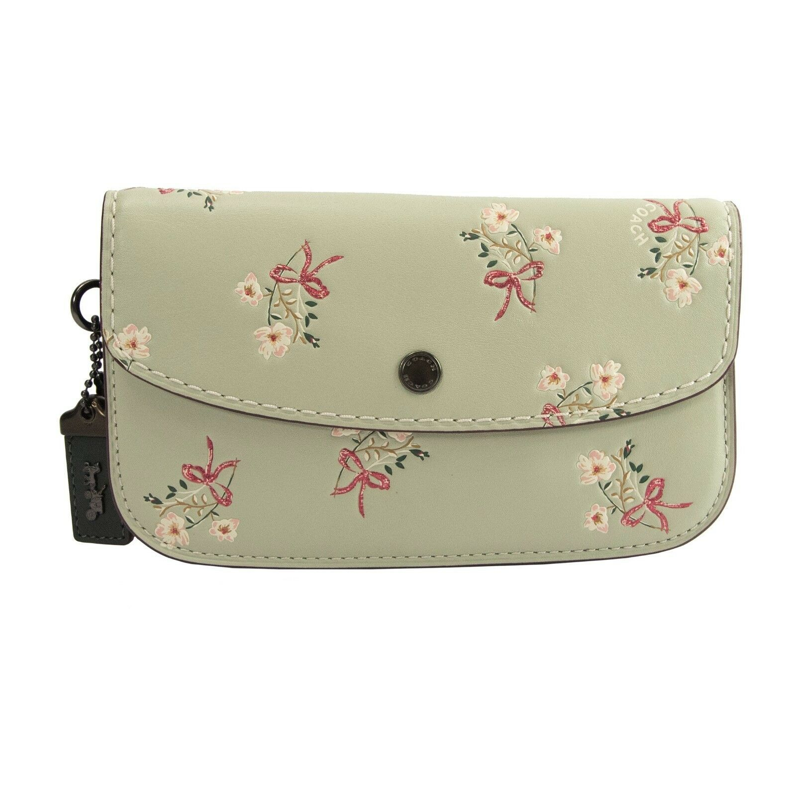 Coach Mint Glitter Floral Bow Embossed Leather 27082 Clutch Wallet NWT