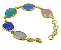 Multi Gold Plated Glass charming Multi Gemstone wholesale Bracelet AU gift - $18.18